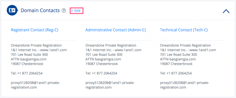1and1 Domain Contacts