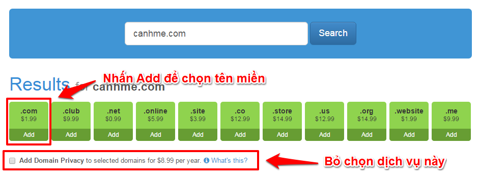 Chon ten mien MyDomain