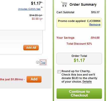 Coupon giảm giá tên miền .COM 0.99$ GoDaddy