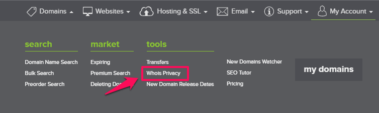 Dang ky Whois Privacy