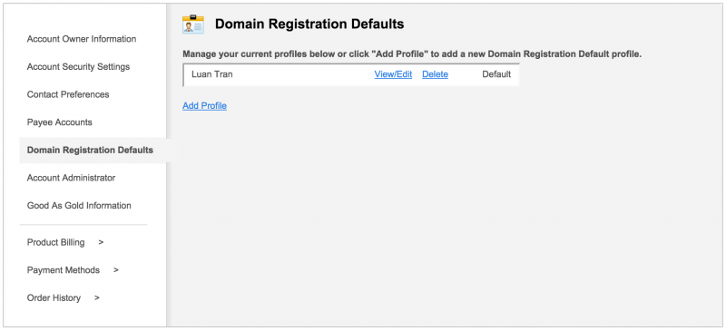 Domain Registration Defaults