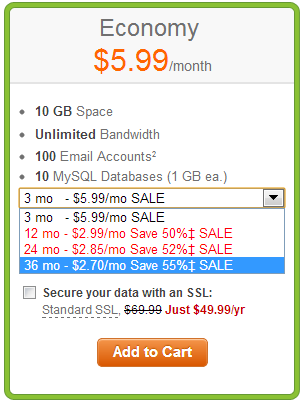 Khuyến mại đến 55% GoDaddy Hosting