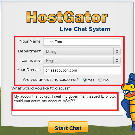 live chat hostgator