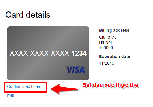 Nhan Confirm credit card
