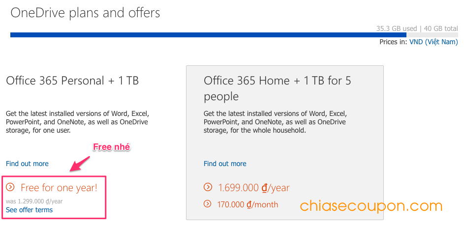 OneDrive Plans and Offers