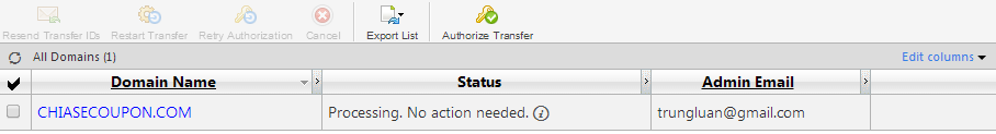 Pending Transfers Status