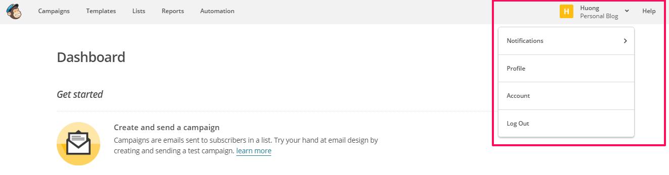 Quan ly tai khoan MailChimp