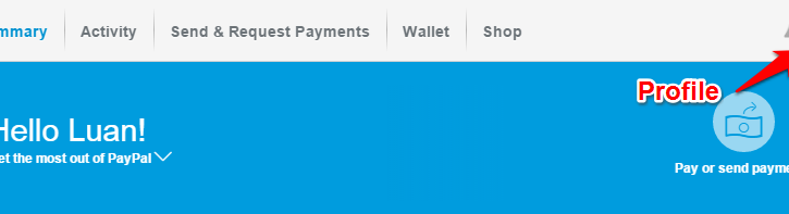 Sua Profile trong tai khoan PayPal
