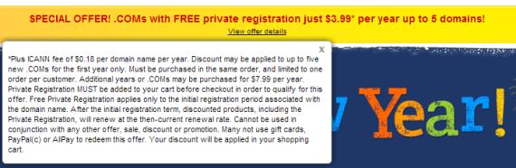 Tên miền kèm Private Whois chỉ 3.99$