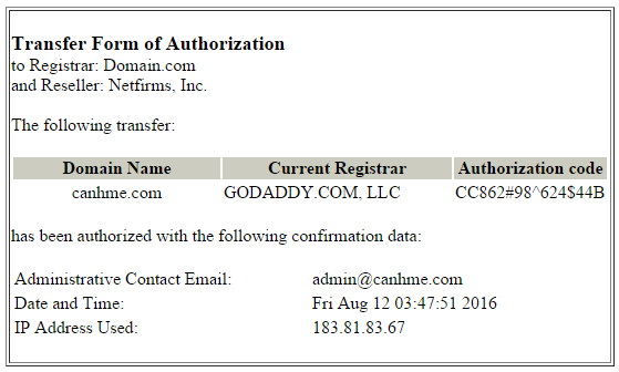 Transfer form of authorization