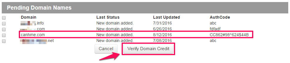 Verify Domain Credit