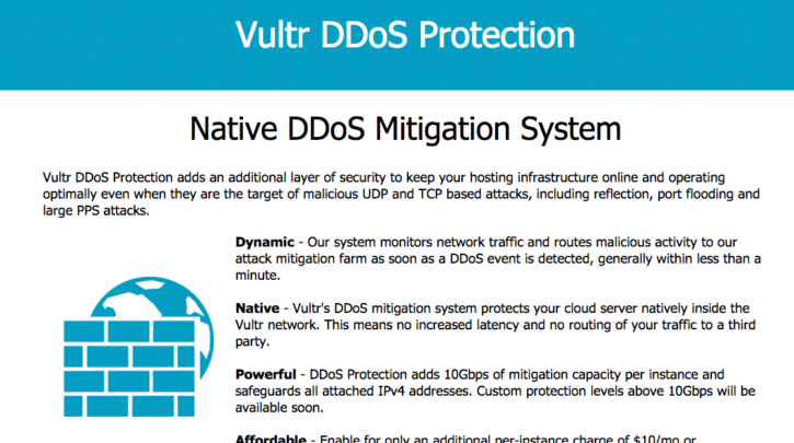 Vultr DDoS Protection