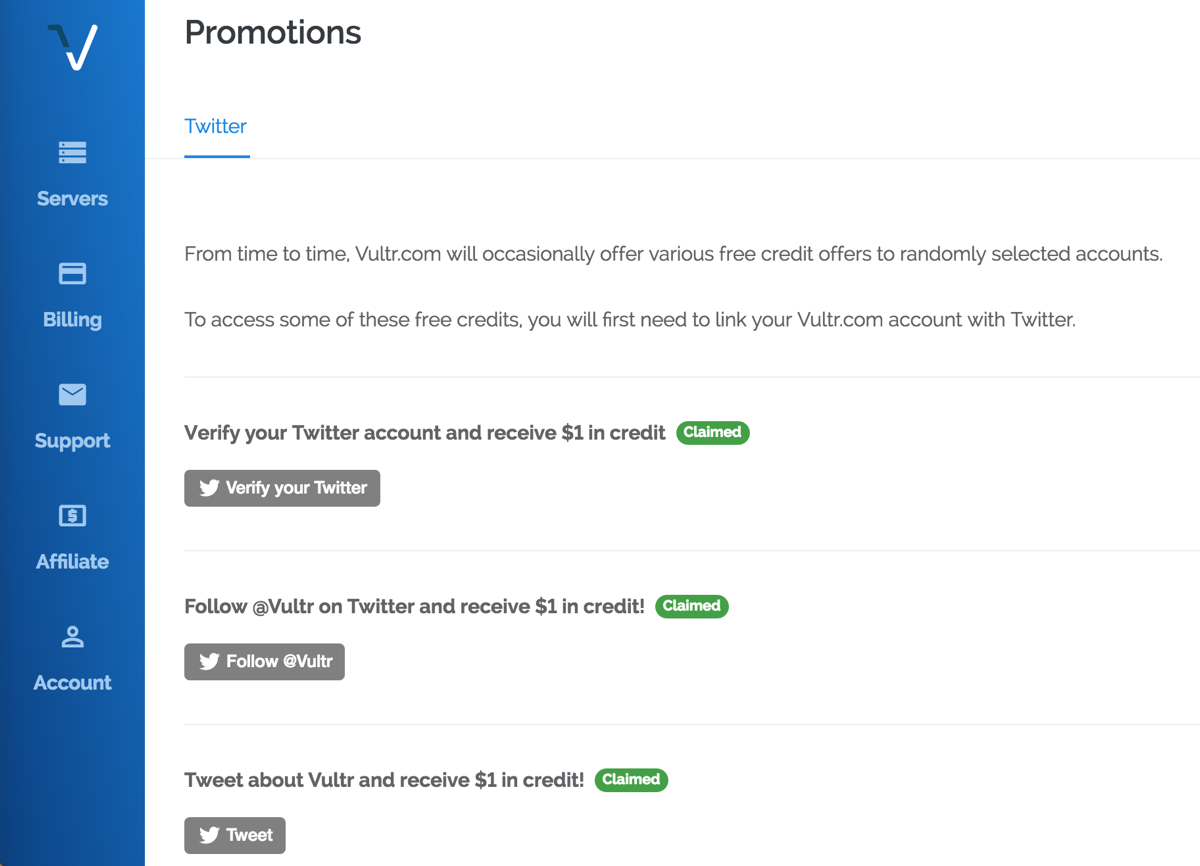 Vultr Twitter Promotions