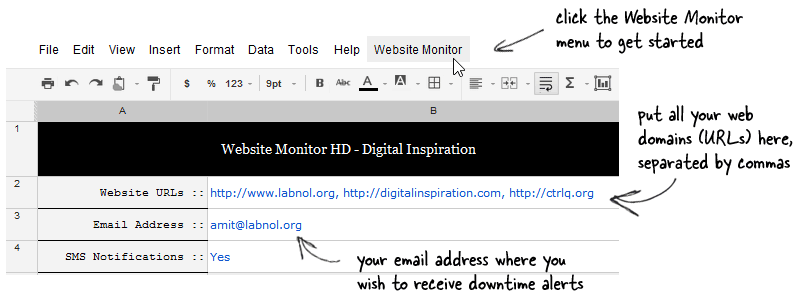 website monitor sms
